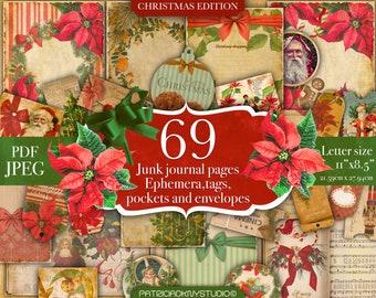 Christmas Junk Journal kit,Vintage Printable Cards, Ephemera,Santa Scrapbook,Xmas tags,digital paper, printable pockets and envelopes