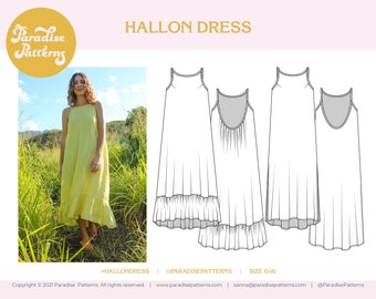 Hallon Dress PDF sewing pattern, sizes 0-16, summer resort dress, B-cup and D-cup options