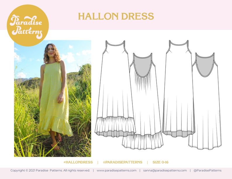 Hallon Dress PDF sewing pattern sizes 0-16 summer resort image 0