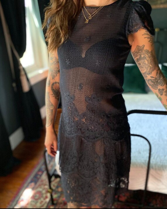 Vintage 20s/30s crocheted lace dress - image 4