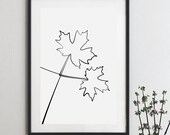 Maple line drawing print printable wall art, One line art, Fine art downloadable poster print, Black and white art single line prints canada