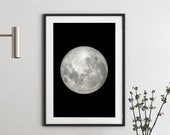 Full Moon Print, Moon Phases Printable Art, Full Moon Art Printables, Black White Moon Art, Celestial Print, Lunar Spiritual Print Wall Art