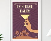 Cocktail Party Art Deco Retro Poster, Printable Vintage Style Wall Art Decor, Digital Download Prints, Minimalist Art Prints, Wall Hangings