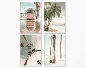 Set of 4 prints digital, Beach photography prints set of 4, Surf art 4 prints, California print set of 4, Beach print set, 4 set of wall art