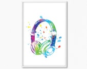Headphones Music Pop Art Printable Digital Art Print, Office Art Music Lovers Modern Home Wall Art Music Gifts Downloadable Print Art Poster