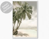 Ocean Print, Palm Tree Print, Digital Print, Palm Wall Art, Palm Tree Art, Boho Beach Print, Downloadable Print, Beach Poster Seascape Print