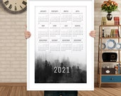 Printable calendar 2021 year, cute one page calendar, Yearly calendar 2021 Black and White 8,5x11 2021 calendar, large calendar poster print