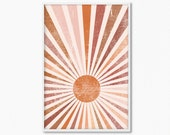 Sun Warm Boho Minimalist Modern Wall Print Art Abstract Artwork Printable Wall Decor Pastel Palette Contemporary Design Art for Home Decor