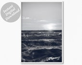 Ocean Waves Print, Digital Print, Coastal Print, Black and White Photography Ocean Printable Poster, Ocean Water Print, Wave Printable Photo