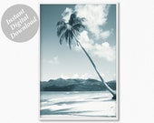 Palm Tree Print, Beach Wall Decor, Coastal Wall Art, Tropical Home Decor, Coastal Life Print, Malibu Palm, Summer Beach Modern Nature Print