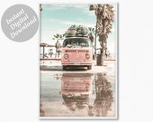 Boho Beach Print, VW Van Surf Print, Surf print, Surfboard Wall Decor, Summer Art Print, Nursery Wall Art, Large Wall Art Printable Artdecor