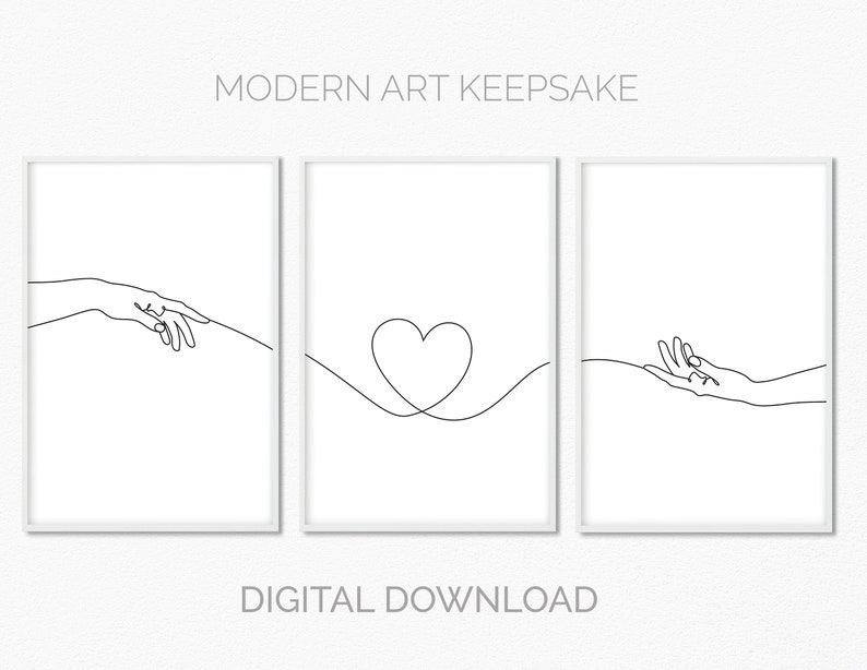 Hands and heart printable wall art set of 3 black and white image 0