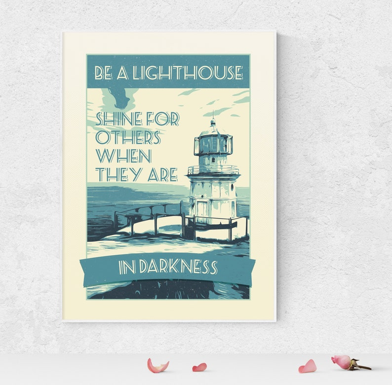 Lighthouse Retro Style Poster Inspirational Quote Printable image 0