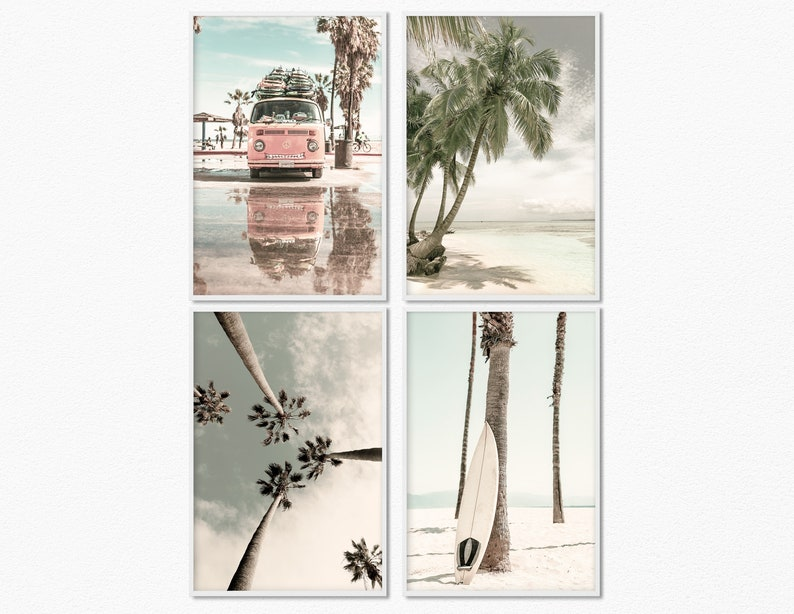 Set of 4 prints digital Beach photography prints set of 4 image 0