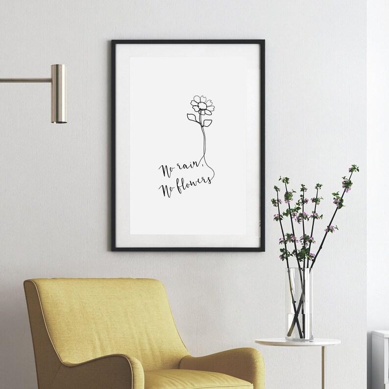 No rain no flowers Positive quote Modern Line Art Print image 0