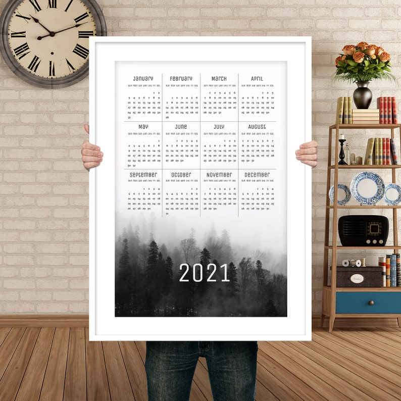 Printable calendar 2021 year cute one page calendar Yearly image 0