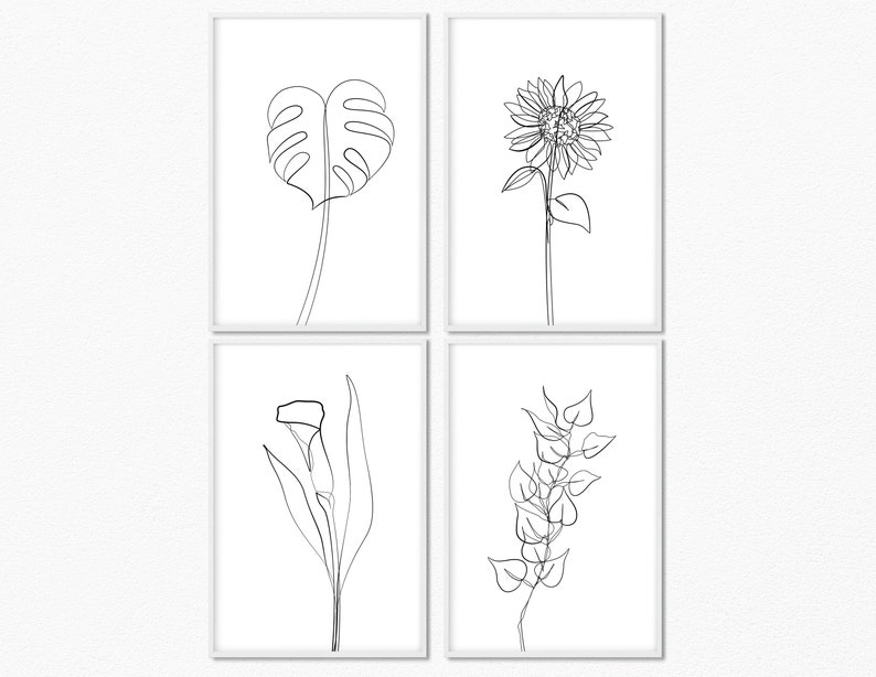 Printable Wall art Bundle Flower Line Art Set of 4 Prints image 0