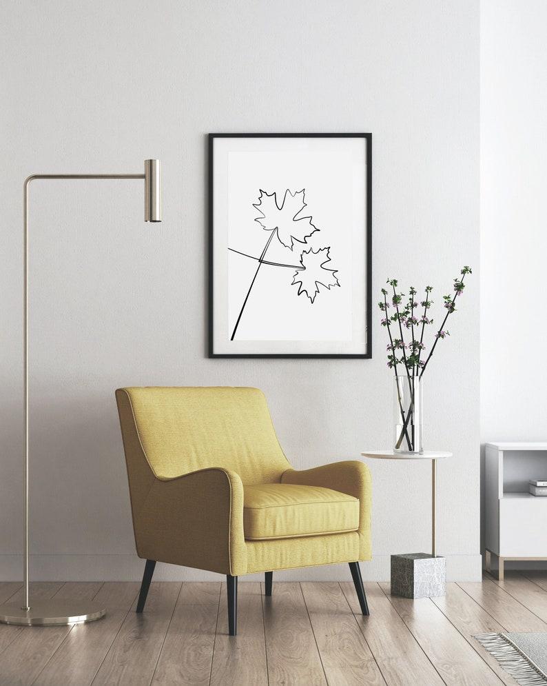 Maple line drawing print printable wall art One line art image 0