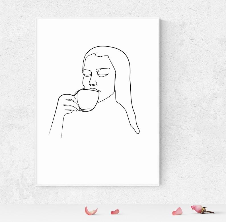 Woman Drink Coffee Line Art Printable Wall Decor Drinking image 0