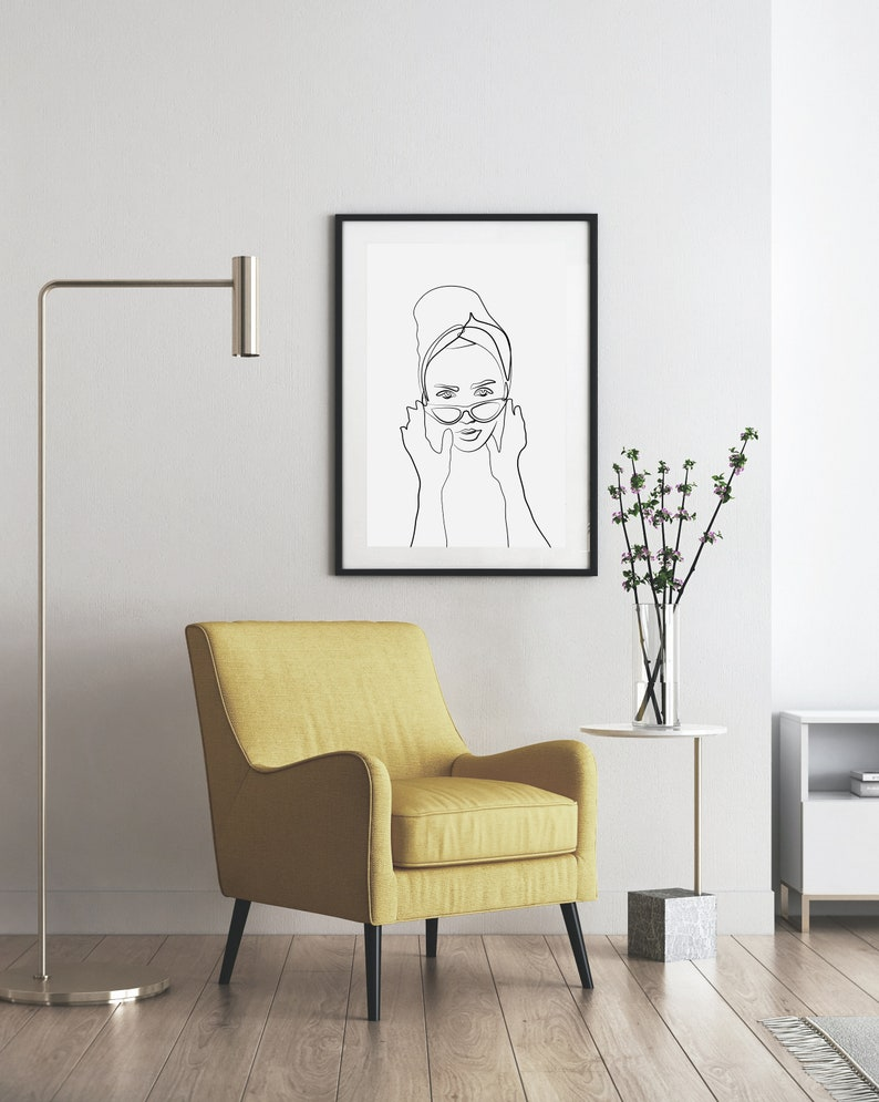 Black Line Art Woman Portrait Drawing Printable Wall Decor image 0