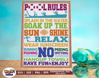 Pool rules svg dxf png, pool rules board svg, Surfing svg, beach svg files for cricut, kids beach svg, summer, beach svg file, beach girl