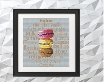 Macarons French Dessert Vintage Colorful Cross Stitch Pattern