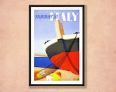 Summer in Italy Vintage Travel Poster. Wall Decor Art Print