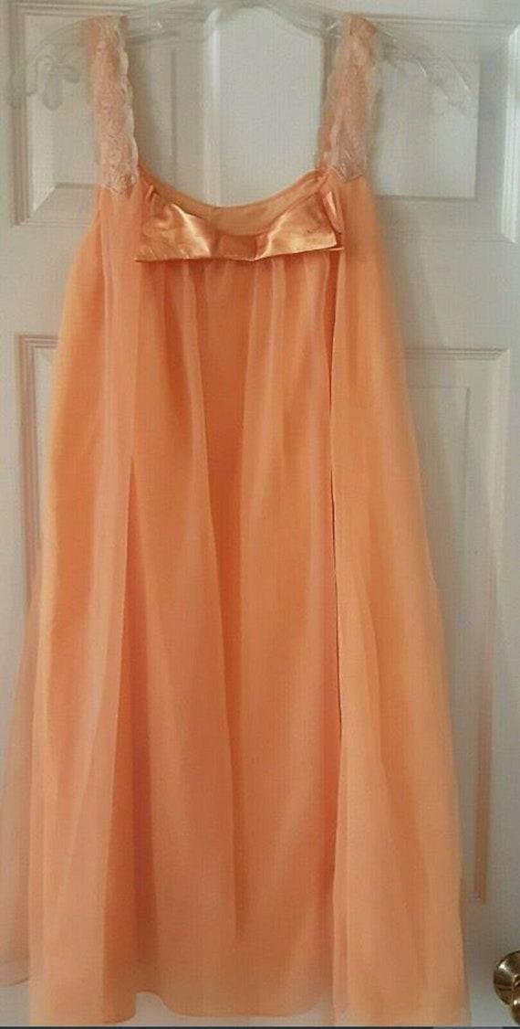 Vintage 1960's Orange Peach Sheer Satin Lace Night