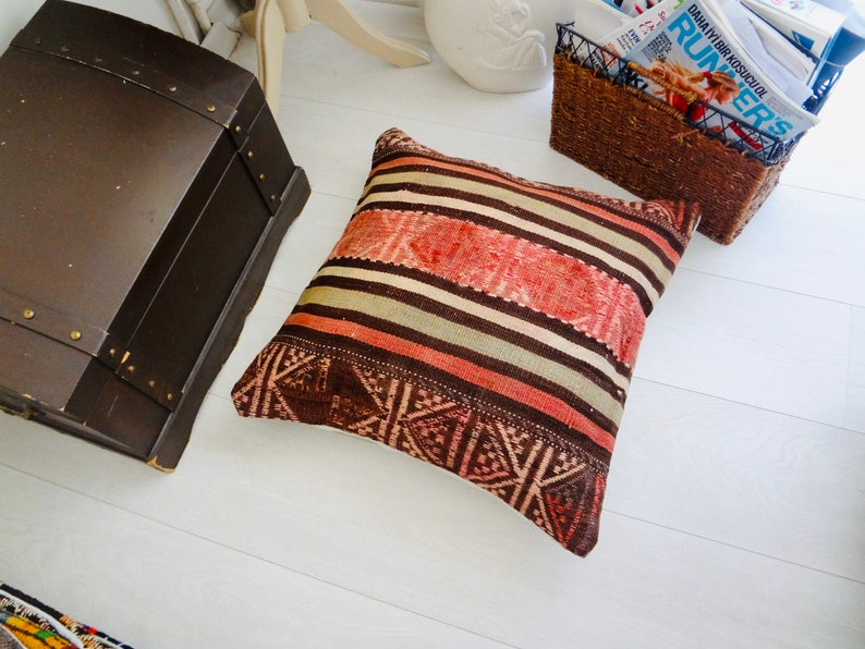 Rug Pillow Case Rug Cushion Case Turkish Kilim Pillow Rug Cover Kilim Cushion Cover 20\u00d720 Kilim Cushion Case L136 Kilim Pillow Cover