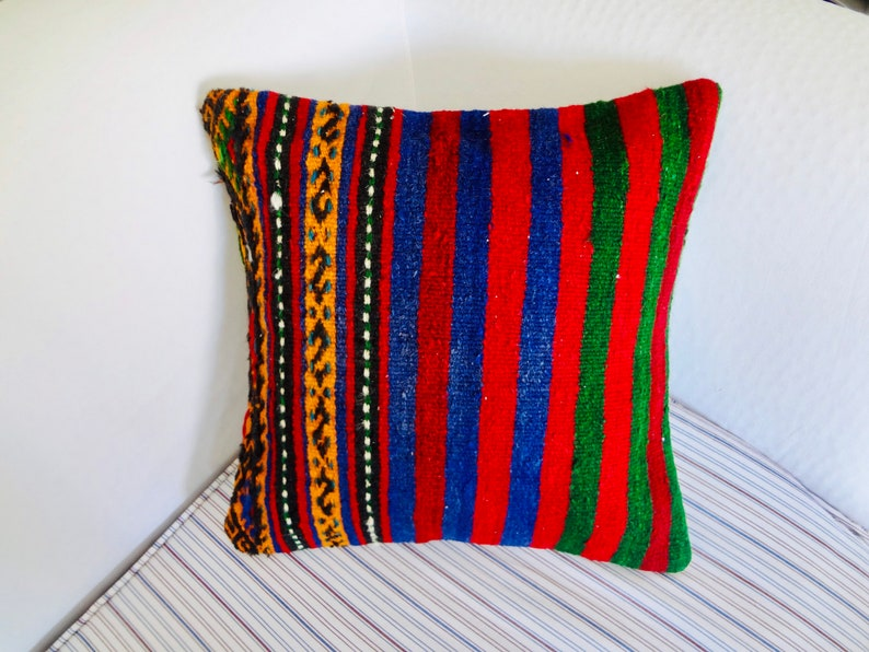 Rug Cushion Case Kilim Cushion Case 16\u00d716 Kilim Pillow Cover Turkish Kilim Pillow Rustic Floor #0299 Rug Pillow Cover Indoor Corner