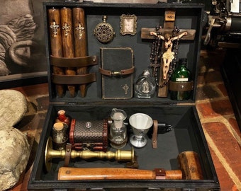 Vampire Hunting Kit ~ Victorian Gothic Vampire Hunter Kit Filled With 19th Century Antique Monster Killing Tools ~ Oddities Home Decor.