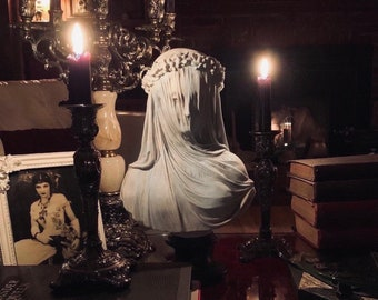 The Veiled Lady ~ Bust Statue ~ 19th Century Gothic Sculpture ~ Museum Replica ~ Art Oddities and Macabre Decor.