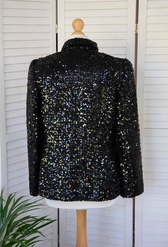Lucie Linden Vintage 1970's Black Evening Jacket … - image 5