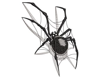 Spider 3D Embroidery Design, Halloween Spider Net, Witch Danger Insect, Machine embroidery files in 3 sizes