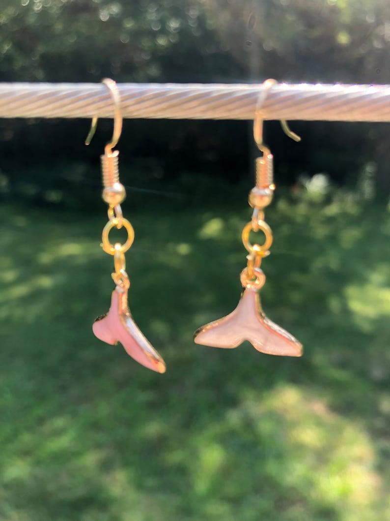 mermaid tail earrings pink and white fishhook earrings