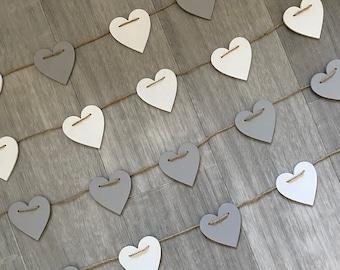 Handpainted Small Shabby Chic Wooden Heart Bunting