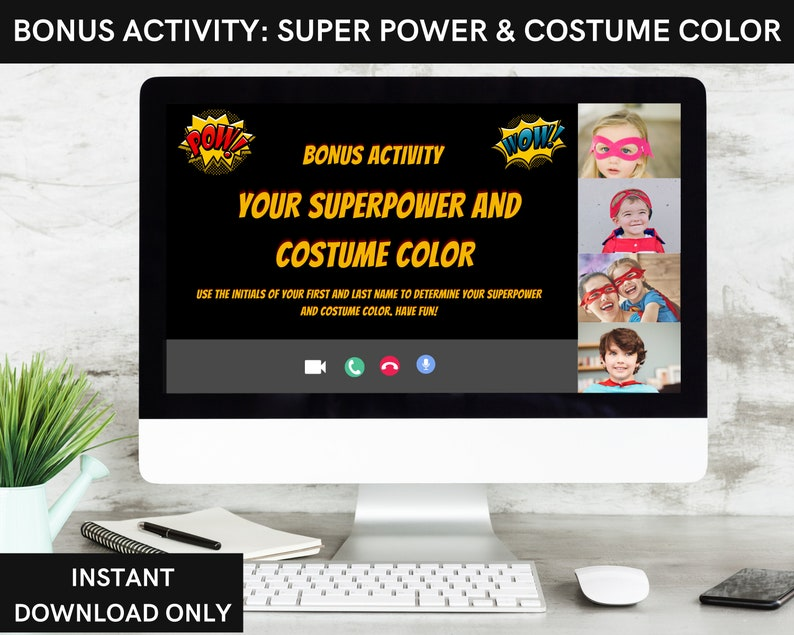 for kids 6 /& older Virtual Superhero kid/'s Birthday Games Bundle for an online or zoom party or cast on TV for in home Instant download