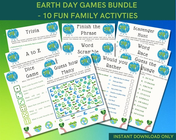 Earth day games bundle for fun activity with friends & family
