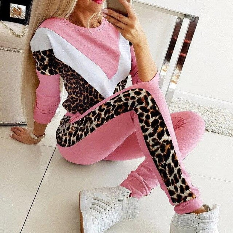 Pants Jogging Suits Sportswear casual Suit Spring Autumn Two Piece Set Leopard Print Tracksuit Fashion Long Sleeve Patchwork Top
