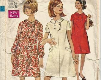 Simplicity 7454 purse sewing pattern vintage supply 1967 Girl\u2019s dress child size 10 puff sleeve round neck shoulder bag