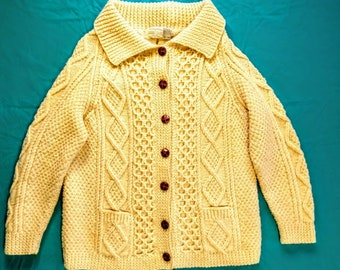 100/% Irish Merino Wool Adults Natural Aran Knit Mittens by Carraig Donn Natural, Medium