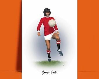 GEORGE BEST POSTER MAN UTD FOOTBALL LEGEND CLASSIC RETRO PRINT-A3 A4 SIZE
