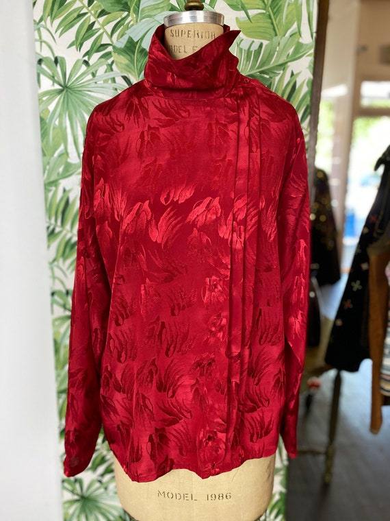 High Collar Red Secretary Floral Blouse
