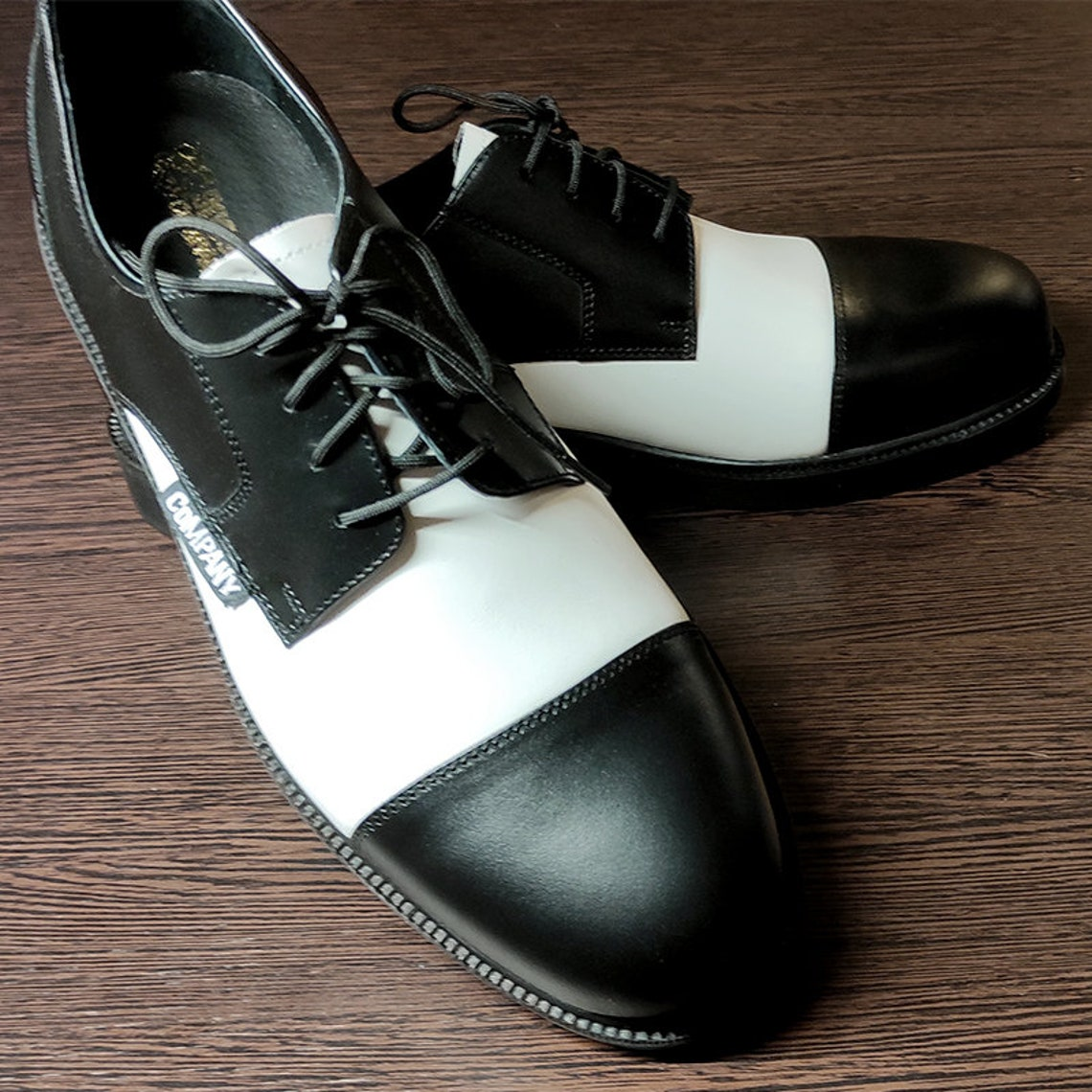 1950s Style Shoes | Heels, Flats, Boots Black and White Vintage Style Rockabilly shoes swing shoes - real leather $139.35 AT vintagedancer.com
