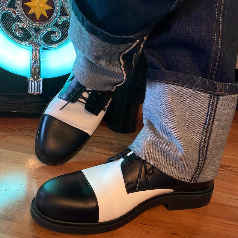 1940s Men's Shoes & Boots | Gangster, Spectator, Black and White Shoes Black and White Vintage Style Rockabilly shoes swing shoes - real leather $139.18 AT vintagedancer.com