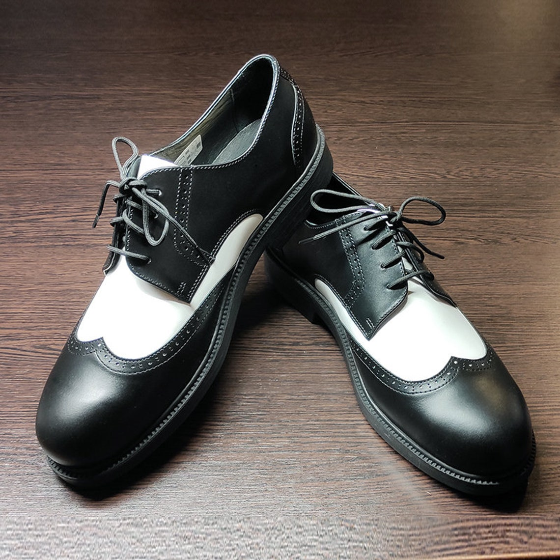 1950s Style Shoes | Heels, Flats, Boots Black and White Vintage Style Brogue Shoes Wingtip shoes - real leather $139.95 AT vintagedancer.com