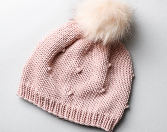 Hand-knit Children/'s Classic Cotton Hat with Dots in Pink