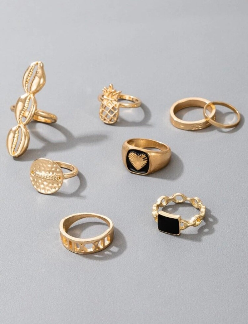 Gold Stacking Ring Stacking Ring set Stacking Ring Set 8 piece shell Ring Gold Heart Stacking Ring Set Bohemian Ring Gold Ring Set