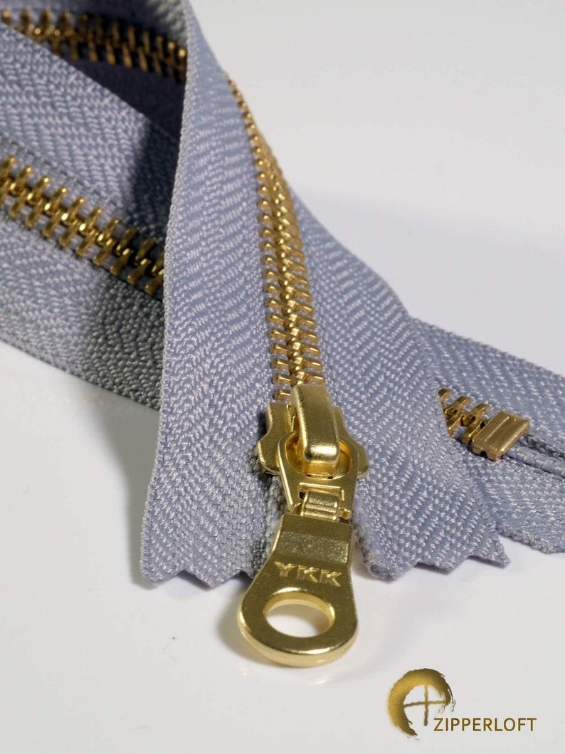 - 272 Light Grey 5-10  12.7-25.4cm Canadian Supplier. Zipperloft YKK #5 Golden Brass Set of 5