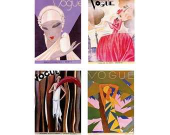 Matted Prints Vogue Magazine Covers 1930 WITH MAT Set of 4 Prints Vintage Vogue Prints Vintage Book Page Prints Gallery Wall Set